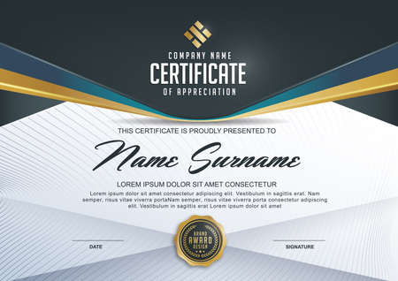 certificate template with Luxury and modern pattern,xA;Qualification certificate blank template with elegant,Vector illustration Illustration