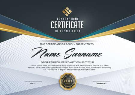 Zertifikatvorlage mit Luxus und modernen Muster, xA; Qualifikationsbescheinigung leere Vorlage mit elegant, Vektor-Illustration Standard-Bild - 53688600