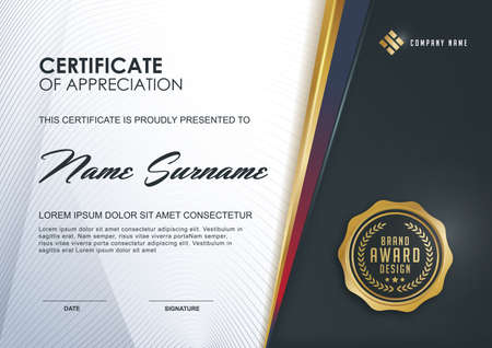 awards: certificate template with Luxury and modern pattern,xA;Qualification certificate blank template with elegant,Vector illustration Illustration