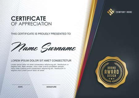 diploma: plantilla de certificado con el lujo y el modelo moderno, xA; Certificado de calificación plantilla en blanco con un elegante, ilustración vectorial