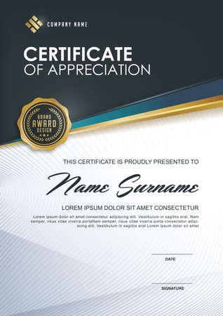 plantilla de certificado con el lujo y el modelo moderno, xA; Certificado de calificación plantilla en blanco con un elegante, ilustración vectorial