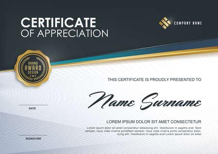 modello di certificato con lusso e modello moderno, XA; certificato di qualificazione modello vuoto con eleganti, illustrazione vettoriale