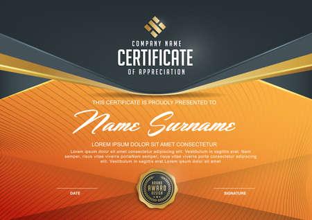 certificado: plantilla de certificado con el lujo y el modelo moderno, xA; Certificado de calificación plantilla en blanco con un elegante, ilustración vectorial