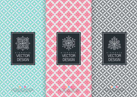 Vector set of templates packaging, labels and frames for packaging for luxury products in trendy linear style, banner, poster, identity, branding, logo icon, seamless pattern in trendy linear style, black, ,collection packaging design,vector illustration Logo