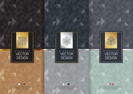 Vector conjunto de plantillas de embalaje, etiquetas y marcos para el envasado de productos de lujo en el estilo de moda lineal, bandera, cartel, identidad, marca, logotipo, icono del patrón de fisuras en el estilo lineal de moda, negro,, diseño de envases de recogida, ilustración vectorial Foto de archivo - 53837623