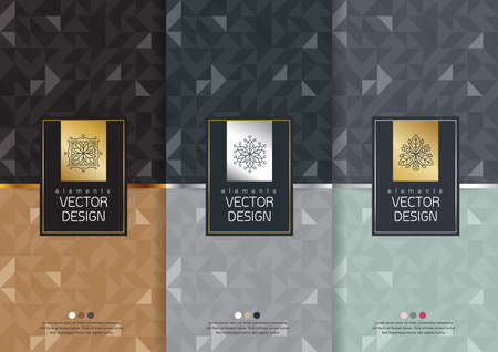 Vector Reihe von Vorlagen Verpackungen, Etiketten und Rahmen für Verpackungen für Luxusprodukte im trendigen linearen Stil, Banner, Poster, Identität, Branding, Logo-Symbol, nahtlose Muster im trendigen linearen Stil, schwarz, Sammlung Verpackungs-Design, Vektor-Illustration
