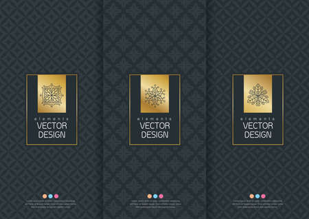 Vector set of templates packaging, labels and frames for packaging for luxury products in trendy linear style, banner, poster, identity, branding, logo icon, seamless pattern in trendy linear style, black, ,collection packaging design,vector illustration