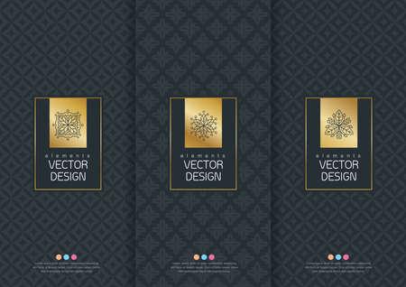 Vector set van templates verpakkingen, etiketten en frames voor verpakkingen voor luxeproducten in de trendy lineaire stijl, banner, poster, identiteit, branding, logo symbool, naadloze patroon in trendy lineaire stijl, zwart, wit, inzameling packaging design, vector illustratie