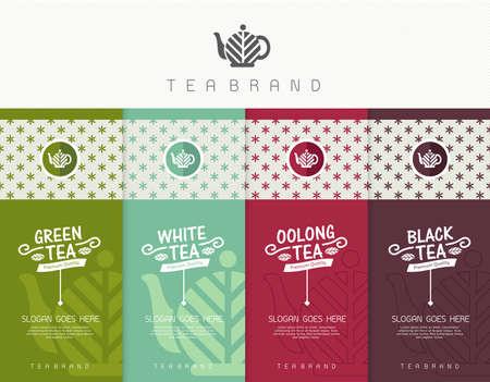 包装茶、ロゴ、ラベル、バナー、ポスター、アイデンティティ、テンプレートのセットをベクトル ブランドします。黒茶 - 緑茶 - 白い茶・ ウーロン