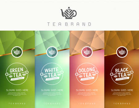 Vector set of templates packaging tea, logo, label, banner, poster, identity, branding. Stylish design for black tea - green tea - white tea - oolong tea