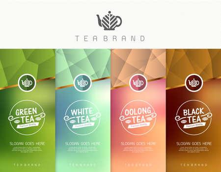 Wektor zestaw herbaty opakowań szablony, logo, etykiety, banner, plakat, tożsamości, brandingu. Stylowy wygląd dla czarnej herbaty - zielona herbata - biała herbata - herbata oolong