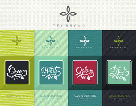 package icon: Vector set of templates packaging tea, logo, label, banner, poster, identity, branding. Stylish design for black tea - green tea - white tea - oolong tea