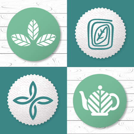 Set of tea logo design elements