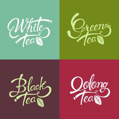 Hand drawn conception de lettrage de thé noir - le thé vert - thé blanc - thé oolong