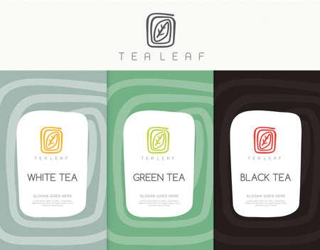 tazza di te: Vector set di tè modelli di imballaggi, etichette, striscioni, poster, l'identità, il branding. Design elegante per il tè nero - tè verde - tè bianco - tè oolong Vettoriali