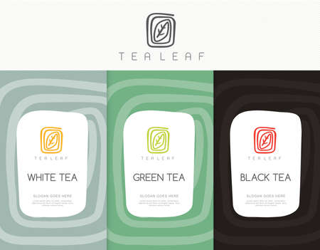 Vector set of templates packaging tea, label, banner, poster, identity, branding. Stylish design for black tea - green tea - white tea - oolong tea Stok Fotoğraf - 53688652