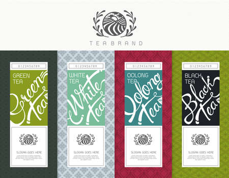 green tea leaf: Vector set of templates packaging tea, label, banner, poster, identity, branding. Stylish design for black tea - green tea - white tea - oolong tea