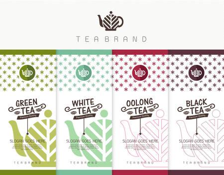 Vector set van templates verpakkingen thee, logo, etiket, banner, poster, identiteit, branding. Stijlvol design voor zwarte thee - groene thee - witte thee - Oolong thee