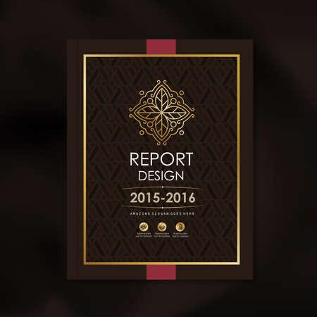 モダンな高級黄金図形パターン背景デザイン企業アニュアル レポート本カバー パンフレット ポスター、ベクトル図のベクトル デザイン テンプレー  イラスト・ベクター素材