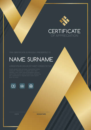 modern illustration: certificate template with clean and modern pattern,Luxury golden,Qualification certificate blank template with elegant,Vector illustration Illustration