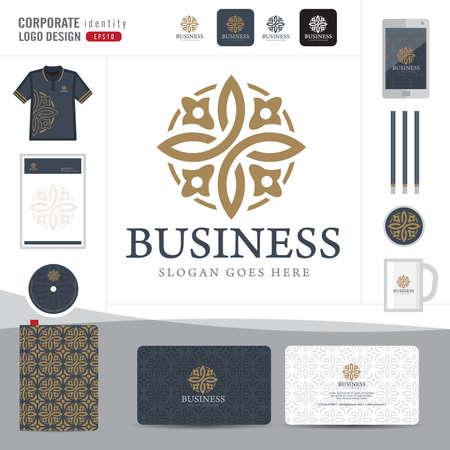 insignias: Resumen monograma elegante diseño logotipo, logotipo plantilla de identidad corporativa abstracta, identidad corporativa, Emblema abstracto, hotel, restaurante, ilustrador vectorial