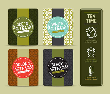tea leaf: Vector set of templates packaging tea, logo, label, banner, poster, identity, branding. Stylish design for black tea - green tea - white tea - oolong tea