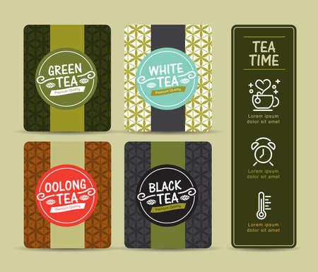 Vector set van templates verpakkingen thee, logo, etiket, banner, poster, identiteit, branding. Stijlvol design voor zwarte thee - groene thee - witte thee - Oolong thee Stockfoto - 53837594