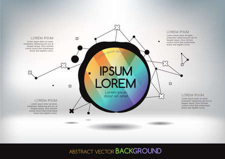 3D abstract background with colorful network and geometric shapes. Vector design layout for business presentations, flyers, posters. Scientific future technology background. Geometry polygon.