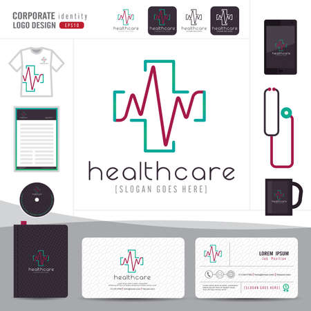 visit: design medical healthcare or hospital and business card template with clean and modern flat pattern,Corporate identity,vector illustrator Illustration