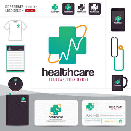 logo medicina: logo design medical healthcare or hospital and business card template with clean and modern flat pattern,Corporate identity,vector illustrator