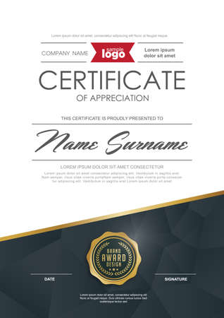 blank template: certificate template with clean and modern pattern,Luxury golden,Qualification certificate blank template with elegant,Vector illustration Illustration