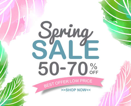 Spring Sale Banner poster tag ontwerp. vector illustratie Stockfoto - 55128497