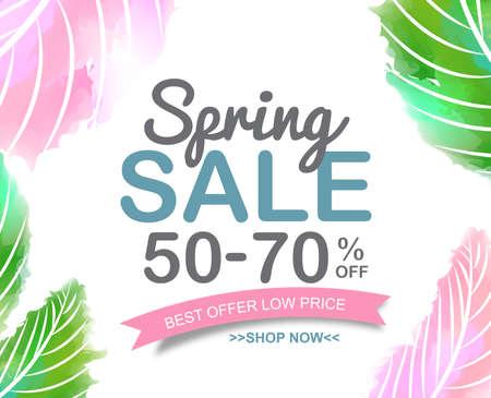 Spring Sale tag manifesto banner design. illustrazione di vettore Archivio Fotografico - 55128497