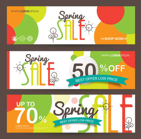 Spring Sale Banner poster tag ontwerp. Vector illustratie Stock Illustratie