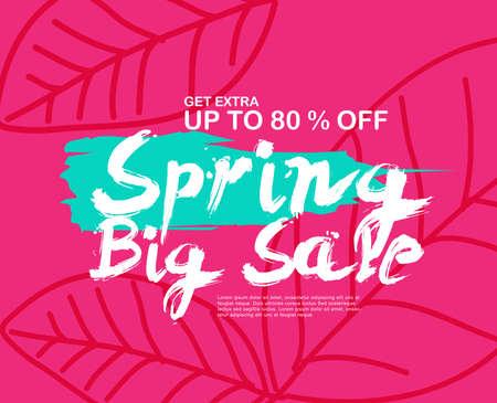 Spring Sale Banner poster tag design. Vector illustration