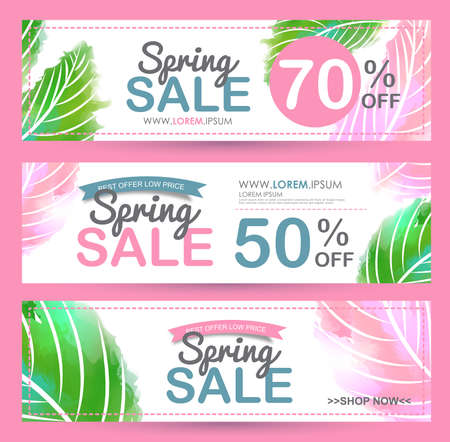 Spring Sale Banner poster tag ontwerp. vector illustratie