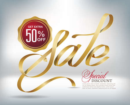 Sale typography background with gold ribbon. Vector illustration