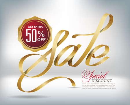 Verkoop typografie achtergrond met gouden lint. Vector illustratie Stock Illustratie