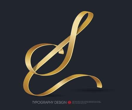 ribbon typography font  type with Glossy gold decorative silk S letter Illustration