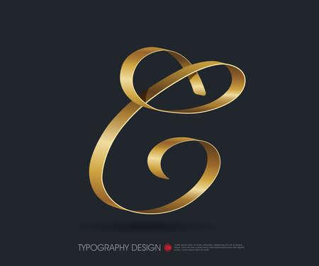 cinta del tipo de fuente de la tipografía con oro brillante carta de seda decorativa C