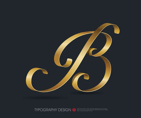ribbon typography font  type with Glossy gold decorative silk B letter Illustration