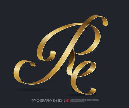 ribbon typography font  type with Glossy gold decorative silk R letter