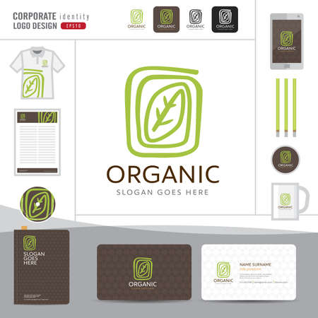 葉のロゴデザイン、有機エレガントなロゴデザイン、オーガニック ショップ、レストラン、ベクトル イラストレーター コーポレート ・ アイデンテ  イラスト・ベクター素材
