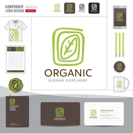 Abstract leaf logo design,Organic elegant logo design,Corporate identity concept for organic shop,restaurant,vector illustrator Stock Illustratie