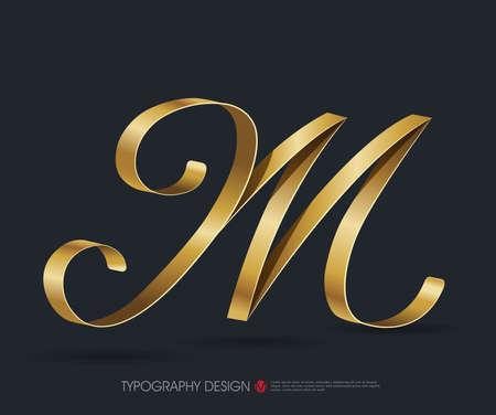 リボンの光沢のあるゴールド装飾シルク M 文字とタイポグラフィ フォントの種類