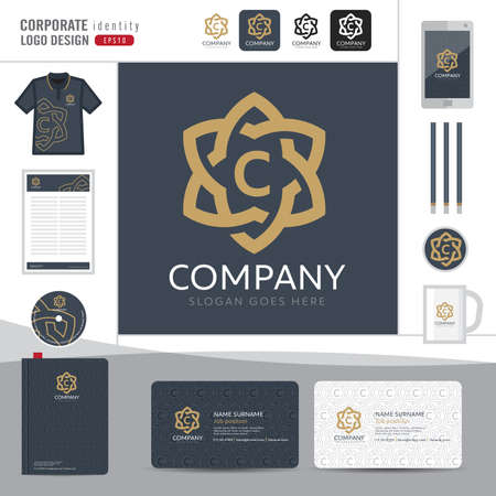 corporate identity template: Abstract monogram elegant  design,Abstract  corporate identity template,Corporate identity,Abstract emblem,boutique hotel,restaurant,vector illustrator