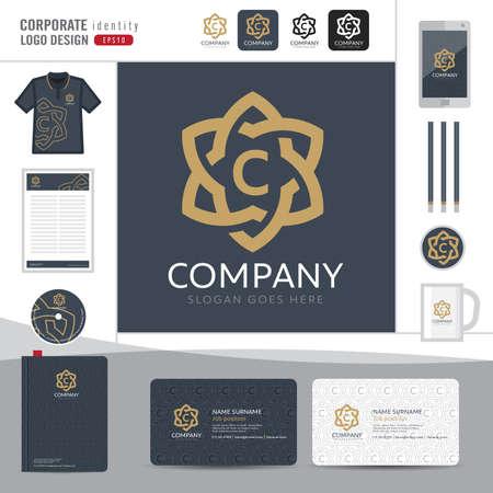 boutique hotel: Resumen de diseño elegante del monograma, identidad corporativa de plantilla abstracta, identidad corporativa, Resumen emblema y elegante hotel, restaurante, ilustrador vectorial