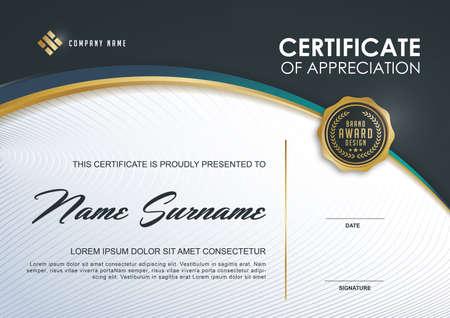 Zertifikatvorlage mit Luxus und modernes Muster, Qualifizierungs-Zertifikat leere Vorlage mit elegant, Vektor-Illustration Standard-Bild - 55129621