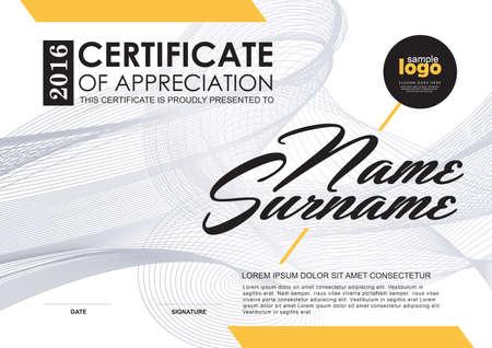 szablon certyfikatu z luksusem i nowoczesnego wzoru, świadectwo kwalifikacyjne pustego szablonu z eleganckim, ilustracji wektorowych