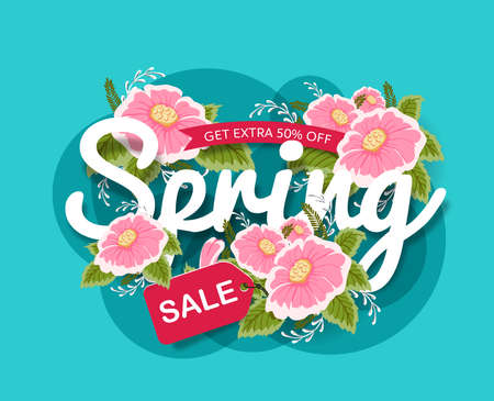 Spring Sale Banner poster tag design with Colorful Flowers. Vector illustration Stock Illustratie